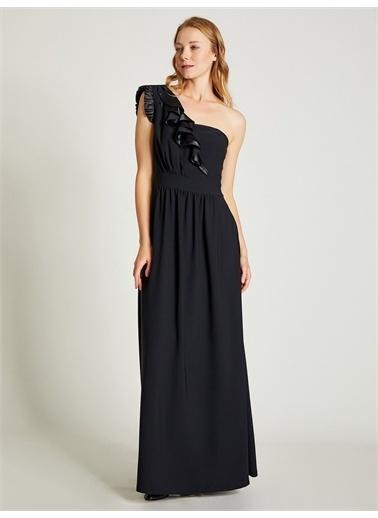 Vekem-Limited Edition Tek Omuz Maxi Elbise Siyah